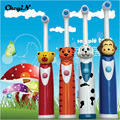 2016 New Oral Hygiene Cute Kids Ultrasonic Electric Toothbrush Baby Cartoon Children's Electric Massage Toothbrush Dental Care