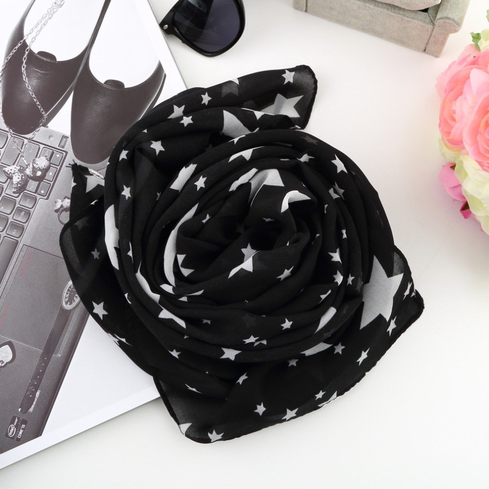 Women Black White Stars Scarf Chiffon Scarf Large Shawl Soft Comfortable Necessity Scarves Thin Scarf Spring Autumn Summer 2019