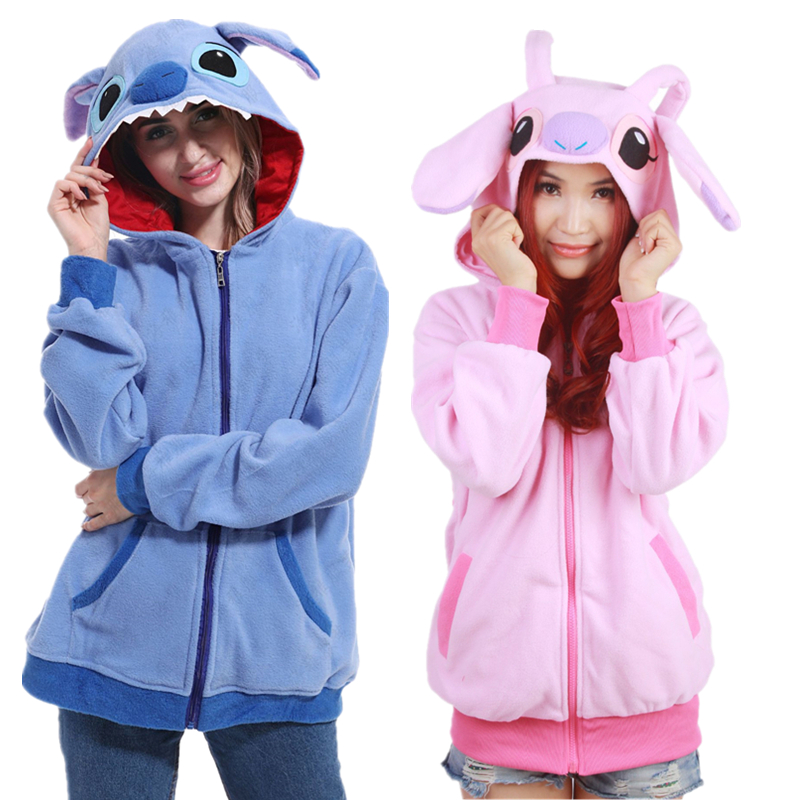 Anime Cartoon Stitch Cute Blue Pink Hoodies Sweatshirts Cosplay Costumes Coats Jacktes Lolita