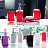 Acrylic 4 Piece Bathroom Accessory Set Soap Dispenser Bottle Soap Dish Cup Toothbrush Holder Case Caddy Best Price