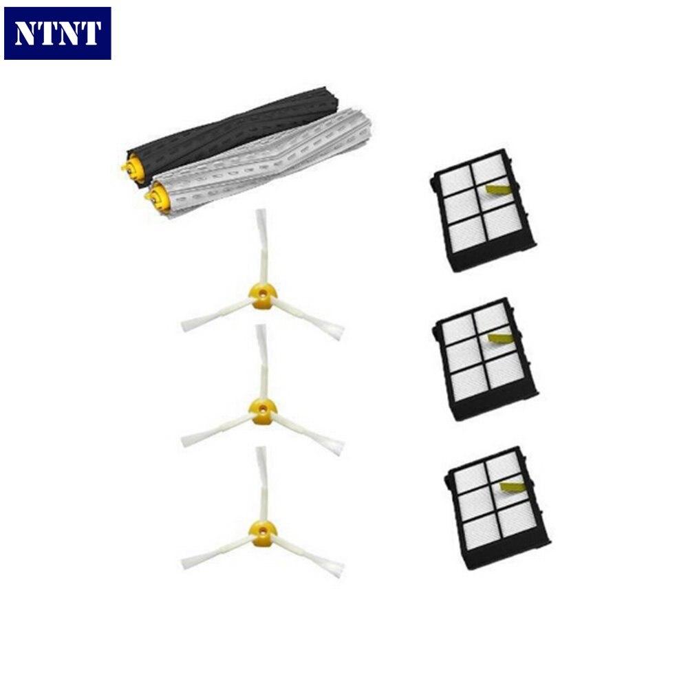 NTNT For iRobot Roomba 800 Series 870 880 Vacuum Cleaner 1 set Tangle-Free Debris Extractor Brush+3 Heap filter+3PC 3 side brush потребительские товары other 3 irobot roomba 800 880 870 47370