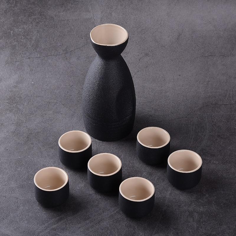 Purple Japanese Style Ceramic Sake Serving Gift Set with Warmer 7 Pcs