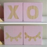 Original Pine Wooden Swan Crown Heart Block 6 6 6CM Decoration For Baby Room Decal Thing