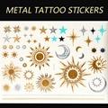 YS57-New Золото И Серебро Металлик Временные Татуировки Наклейки Sexy Body Art \ Луна, Солнце, Звезды Моды Флэш Поддельные татуировки