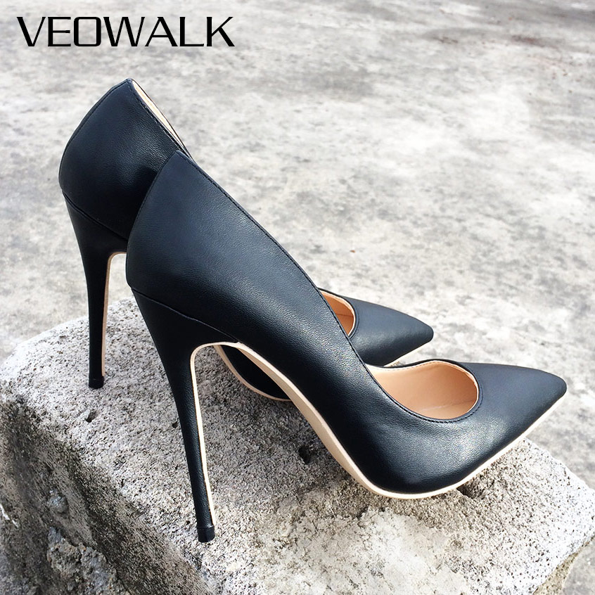 Veowalk Brand <font><b>2018</b></font> <font><b>Top</b></font> <font><b>Quality</b></font> <font><b>High</b></font> <font><b>Heels</b></font> 12CM <font><b>Shoes</b></font> <font><b>Women</b></font> <font><b>Pumps</b></font> <font><b>Sexy</b></font> Pointed Toe <font><b>Women</b></font> Stilettos <font><b>Shoes</b></font> Chaussure Escarpins image