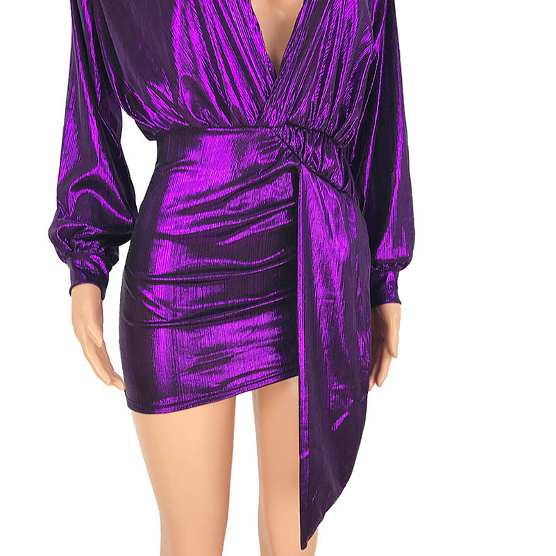 Sexy Nightclub Sequins Club One Piece Dress Women Long Sleeve Bodycon Party Dresses Ladies Deep V neck Plus Size Vintage Vestido in Dresses from Women 39 s Clothing