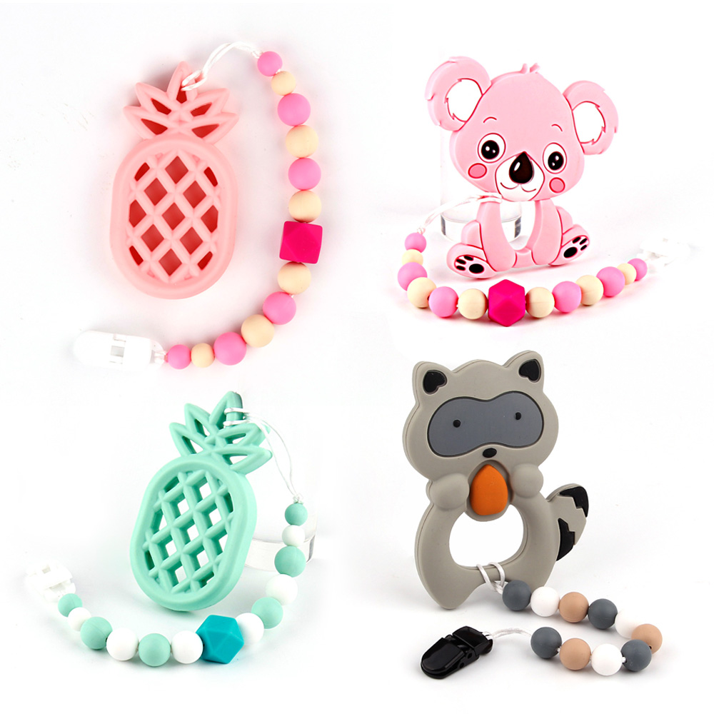 Fashion Baby TeetherToys Silicone Beads Teething Necklace Make Of Bpa Free Silicone Beads Baby Chew Pacifier Clip Baby Carrier