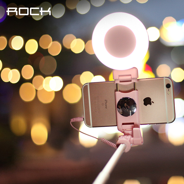 ROCK Selfie Stick with Ring Led Light and Mirror, Cute Fashion Android Wired Self Stick Monopod for iPhone Samsung LG Smartphone