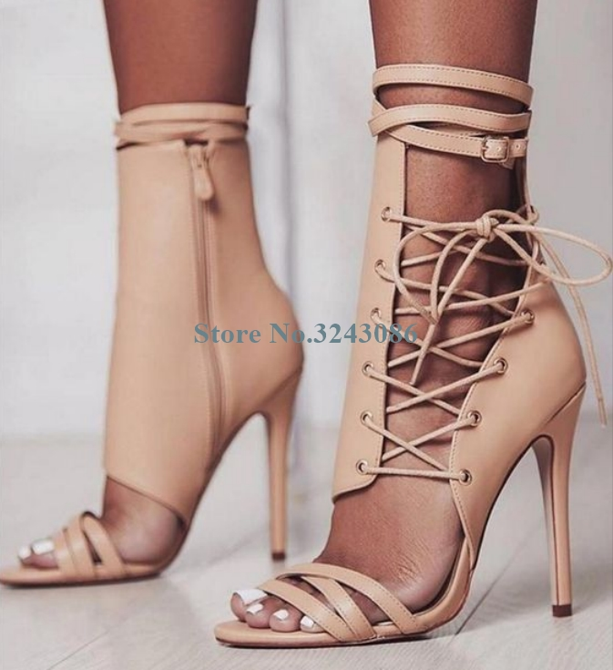 Apricot Leather Side Cross Tie Thin High Heel Sandals Casual Gladiator Ankle Strap Stiletto Heel Sandals New Women Sandal BootsApricot Leather Side Cross Tie Thin High Heel Sandals Casual Gladiator Ankle Strap Stiletto Heel Sandals New Women Sandal Boots
