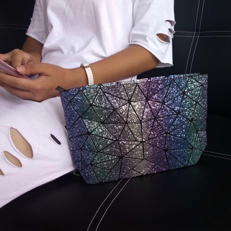 2018 модные дизайнерские сумки геометрический плед плечо и через плечо решетки leatury бренд серебристых Для женщин Портфели сумка ...