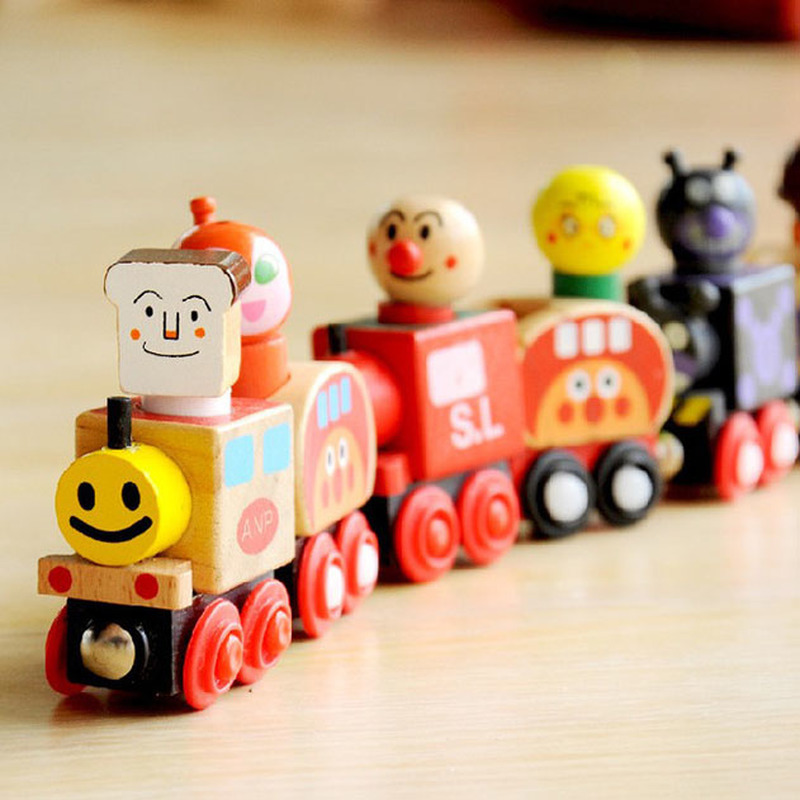 New Anpanman Trains Set Magnetic Van For Carrying People Train Children Wooden Toys Vehicle Blocks Kids Educational Toys in Blocks from Toys Hobbies