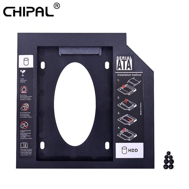 CHIPAL Universal 2nd HDD Caddy 12,7mm SATA 3,0 para 2,5 pulgadas SSD Case adaptador de disco duro para ordenador portátil extraño CD DVD ROM Optibay