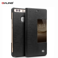 QIALINO For Huawei P9 Plus P 9 Phone Bag Funda Auto Wake Sleep View Window Lizard