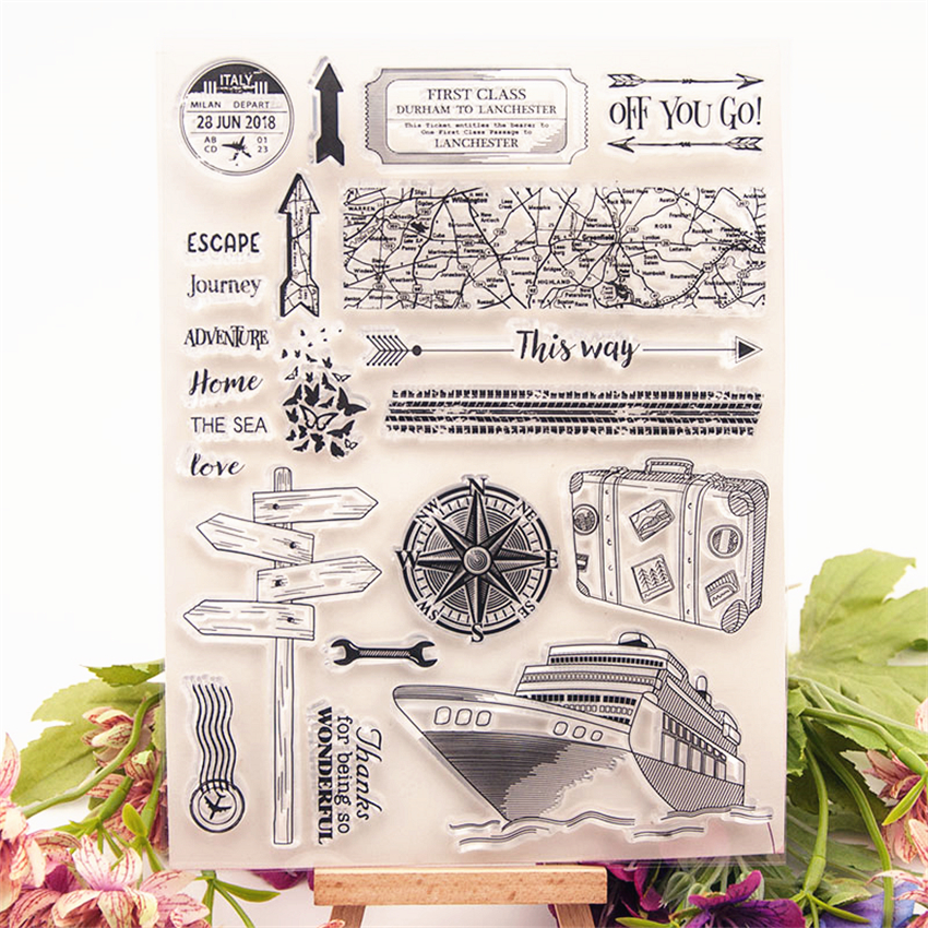 Hot Sale Nautical Travel Transparent Clear Stamps / Silicone Seals Roller Stamp For DIY Scrapbooking Photo Album/Card Making