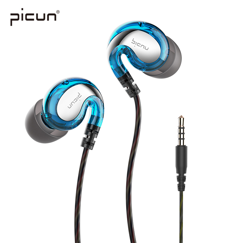 Picun Running Sport Earphone Stereo Bass Headset With Microphone Mp3 Music Wired Earpieces Earbud For iPhone X 8 7 6 Android