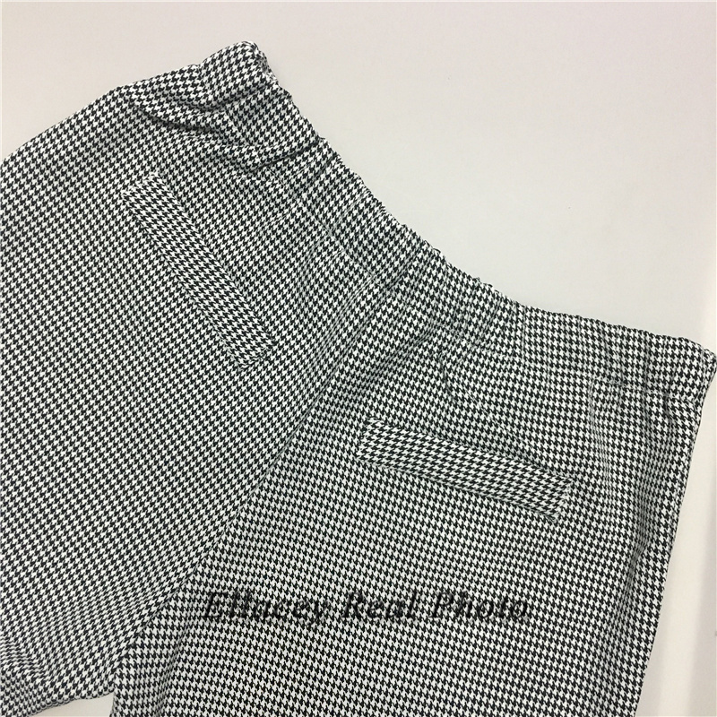 New 19 Spring Autumn Fashion Women's Business Pants Suits Houndstooth Checker Pattern Ruffles Suits For Women 2 Pieces Set 19
