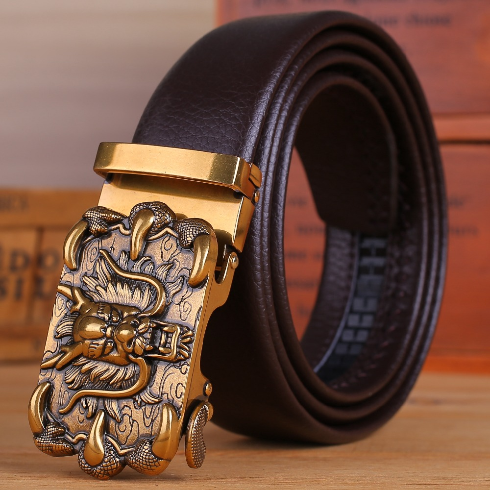 Microfiber Brown Leather Coffee Mens Belts Luxury Gold Dragon Automatic Buckle Long Big Plus Size 150 Cm 140 160 Chinese Style