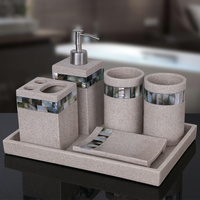 European shell bathroom five piece set Resin toothbrush holder wash cup with tray Bathroom supplies set LO723451