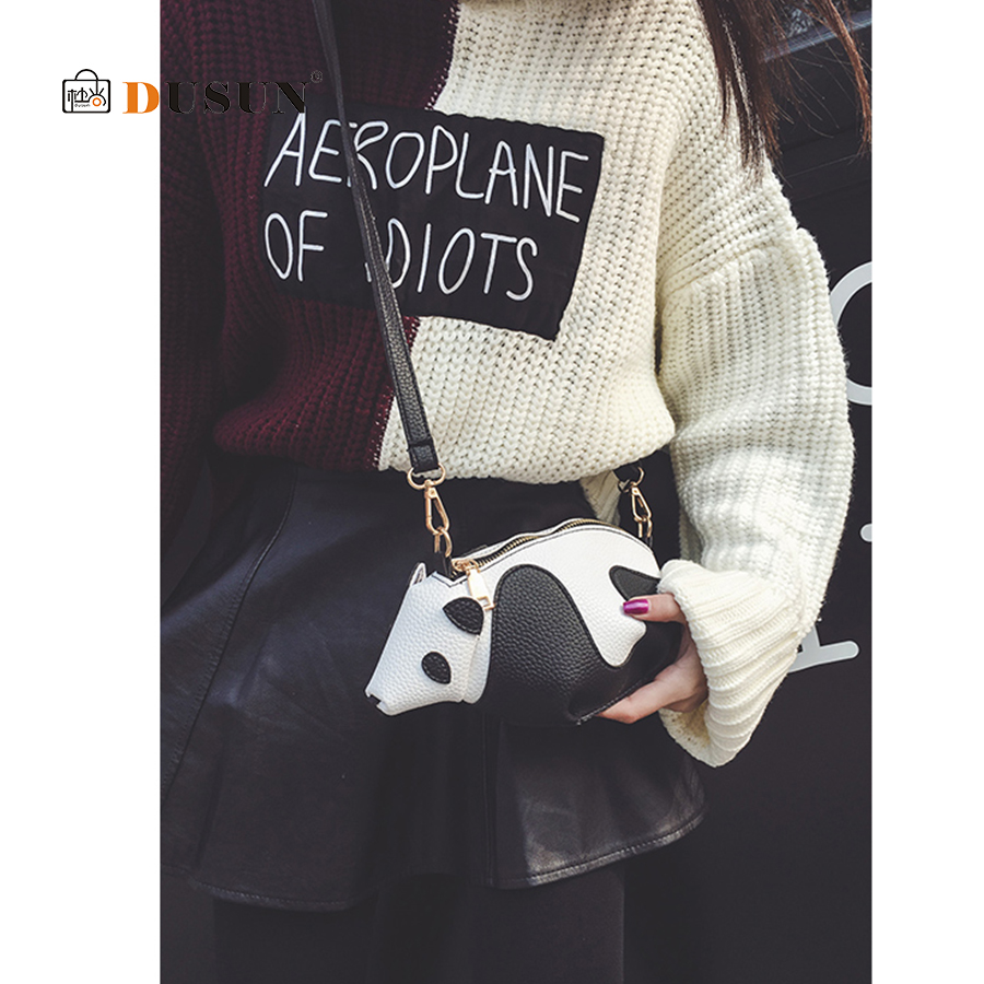 6460467fb533 DUSUN 3D Cute Women Panda Bag Unique Messenger Bag Ladies Clamp PU Leather  Shoulder Bags Women 2019 Brands Designer High Quality-in Shoulder Bags from  ...