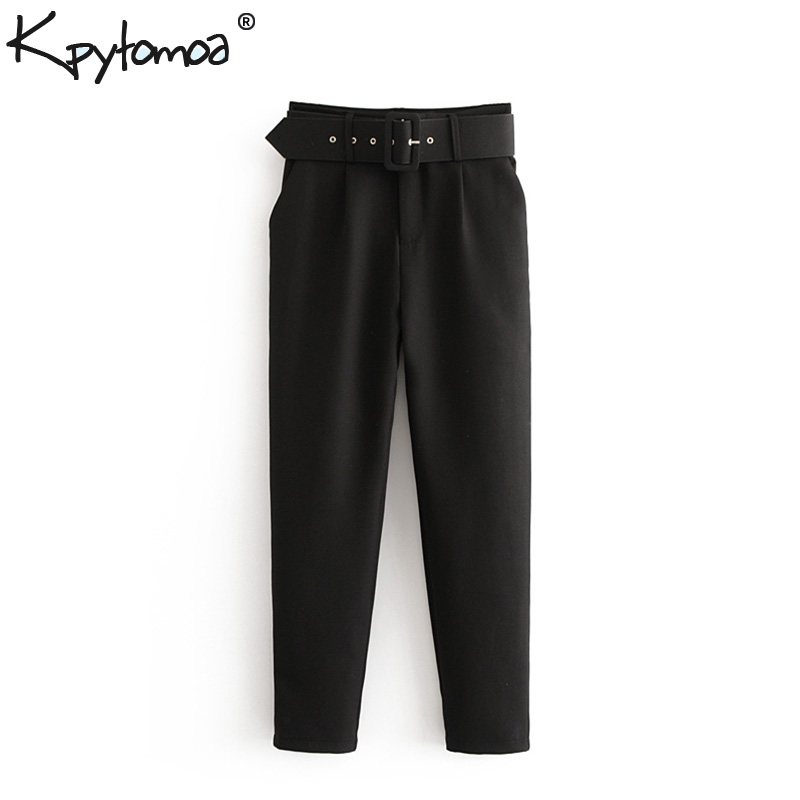 Vintage Fashion Pockets With Belt Suit Pencil Pants Women High Waist Office Ladies Ankle Trousers Casual Pantalones Mujer