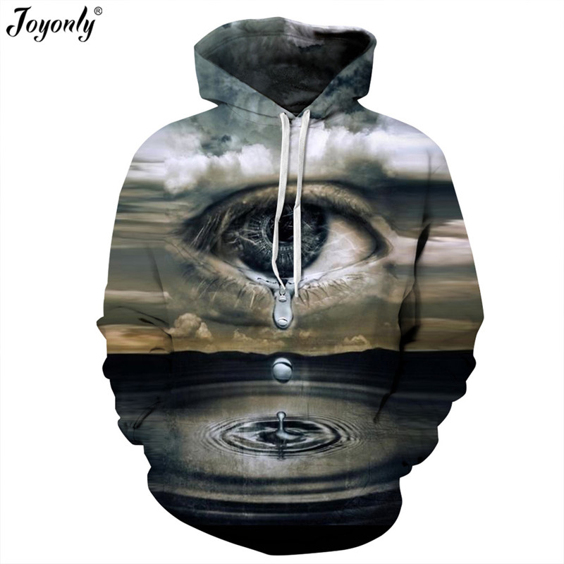 Joyonly Women/Men Thin Hooded Hoodies Print Tears Lake Clouds Big Crying Eyes 3D Sweatshirts Femme Harajuku Tracksuits Pullovers