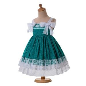 Image 2 - Pettigirl Nieuwste Groen Baby Meisjes Dresseslace Bloem Jurk Met Hoofddeksels En Bows Kids Mouwloze Zomer Kleding G DMGD201 C134