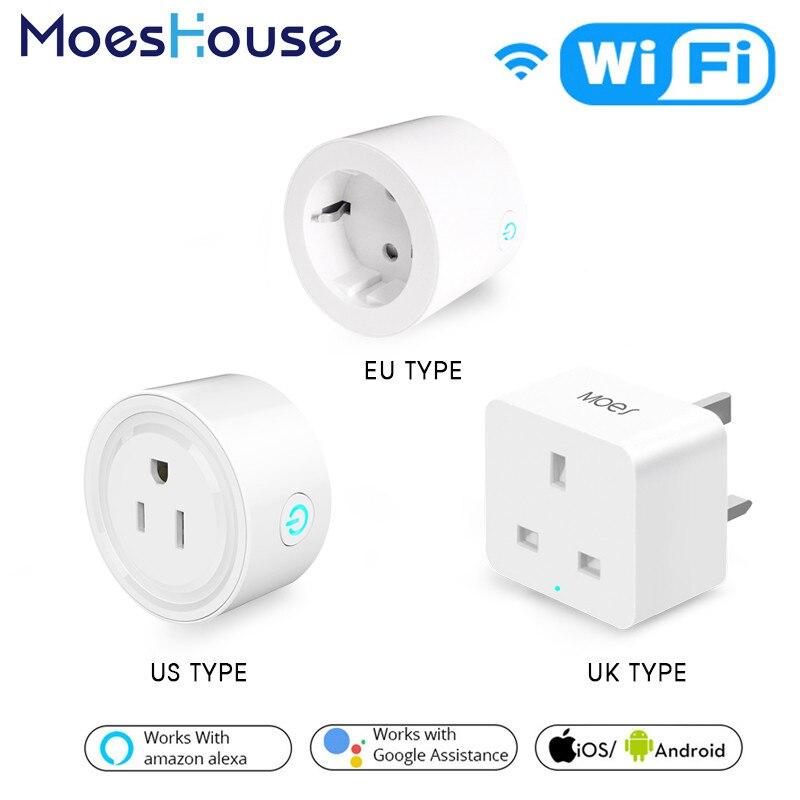 Plug Power Tomada do REINO UNIDO EUA UE WiFi Tomada Inteligente de Controle Remoto Funciona com o Amazon Alexa Inicial do Google Sem Hub Necessário