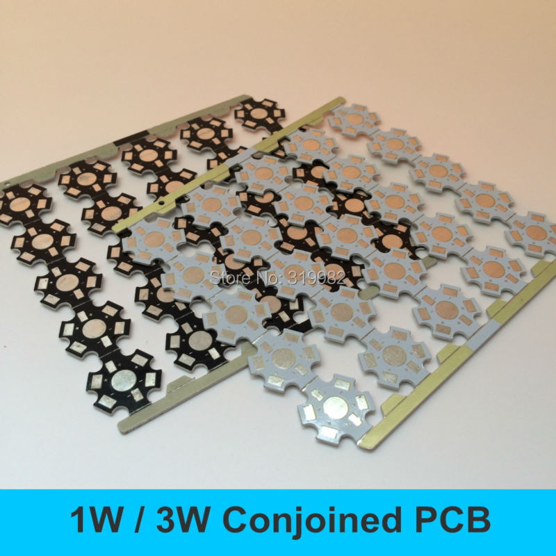 Star Shape Conjoined LED PCB Board for 1W 3W 5W Single LEDs High Power LED Heatsink 20mm White Black Aluminum Base Plate