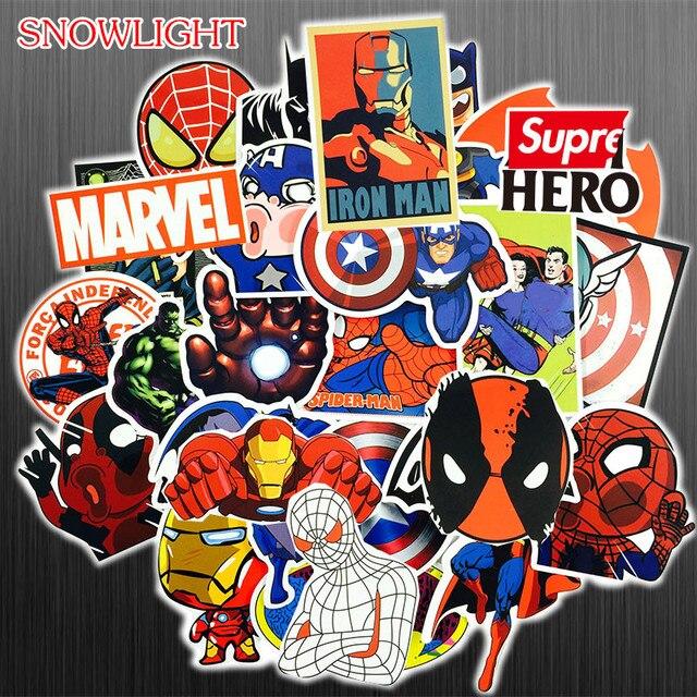 Nova 50 pçs/set de Super-heróis Da Marvel Avengers DIY Adesivos À Prova D' Água Para O Telefone Portátil Estojo de Guitarra Bagagem Skate Bicicleta Adesivo