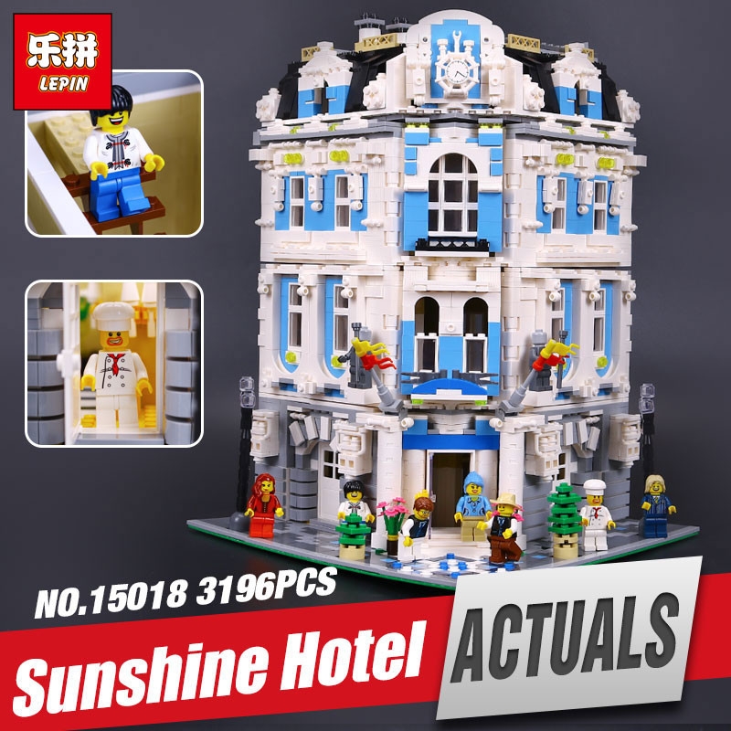 Lepin 15018 Genuine New MOC City Series The Sunshine Hotel Set Educational Building Blocks Bricks legoing Toys children Gifts a toy a dream lepin 02043 718pcs building blocks bricks new genuine city series airport terminal toys for children gifts