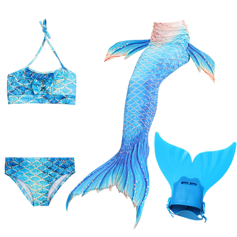 Girls Little Mermaid Tails Swimming Costumes Cosplay Monofin Swimmable Suit Zeemeerminstaart Cola De Sirena Cauda De Sereia