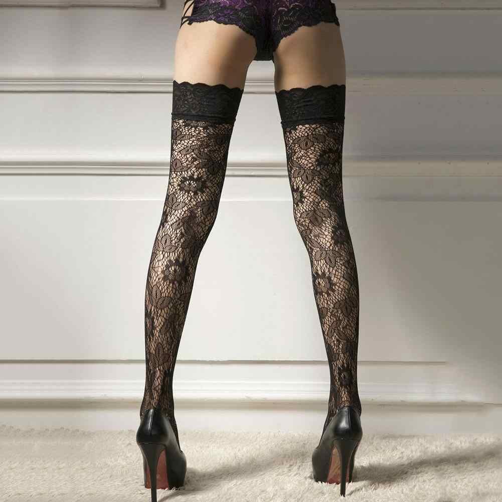 1 par feminino laço floral sobre o joelho coxa meias altas sexy lua de mel elástico durável super elástico meias
