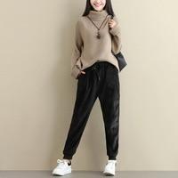 Plus Size Women Winter Velvet Pants Gold Fleeces Thickening Elastic Drawstring Waist Harem Pants Female Warm Trousers 2