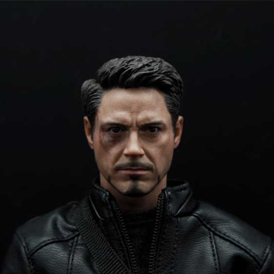 Hot 1/6 Escala Guerra Civil Lesão Tony Stark Chefe Sculpt Para Hot Toys Figura Do Corpo