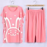 Plus Size Pajamas Sets 5XL Cute Cartoon Prints Pyjamas Women Summer pijama Soft Modal Home nightwear