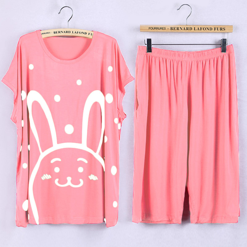 Plus Size   Pajamas     Sets   5XL Cute Cartoon Prints Pyjamas Women Summer pijama Soft Modal Home nightwear