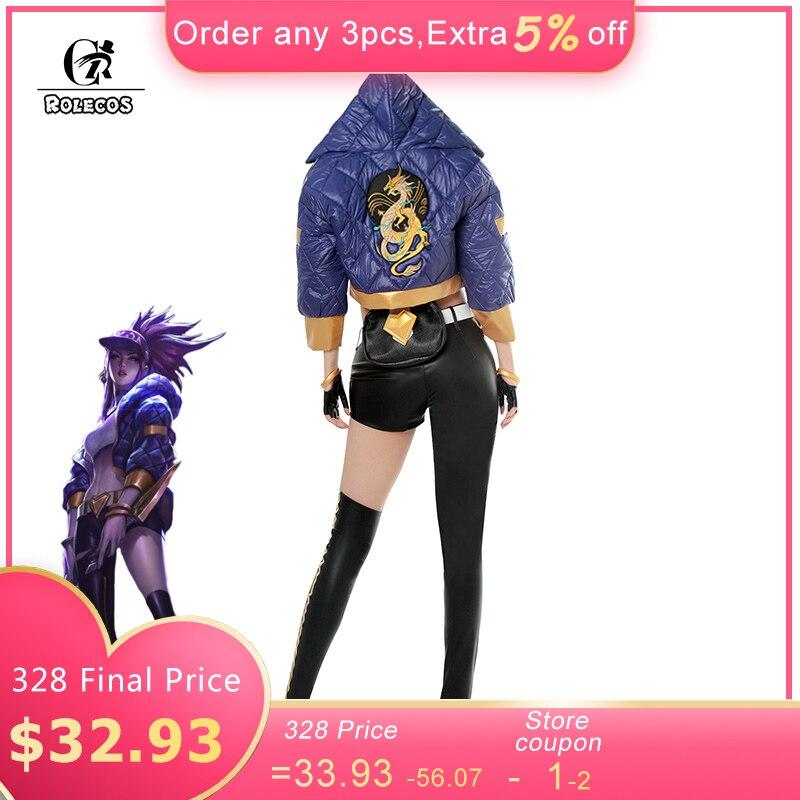 ROLECOS Spiel LOL K/DA Akali Cosplay Kostüm LOL KDA Akali Cosplay Kostüm Winter Uniform Kostüm für Frauen Voll set