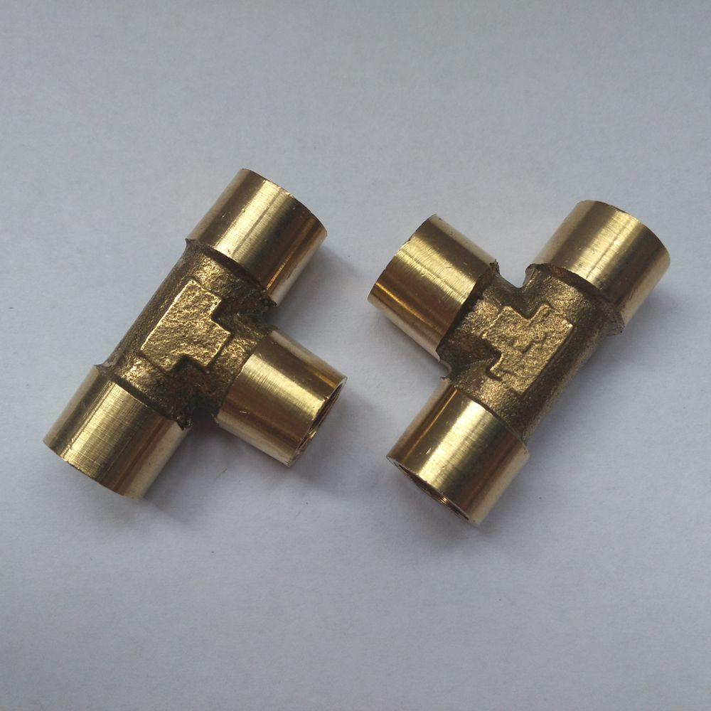 Tee Type 3 Way Brass Pipe Fitting Connector 1/8 to 1/8 to 1/8 BSP Female Thread for Water Fuel Gas Tube