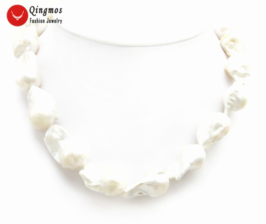 """Qingmos Trendy Natural Pearl Necklace for Women with 17*30mm Baroque White FW Nuclear Pearl Chokers Necklace Jewelry 17"""" nec6500"""