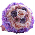 Beautiful Purple Pink Color bridal bouquets Bridesmaid Flower wedding bouquet artificial flower rose New Arrival 2017