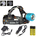 New Arrival Zoomable Rechargeable Boruit Headlamp LED Headlight +2 pcs  18650 4000Mah Battery  + Car Charger + Charger