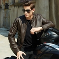 New Winter Mens Leather jacket Fashion Stand Collar Casual PU Biker Jacket Men leather Bomber Jacket Leater Coats M~3XL DB8F