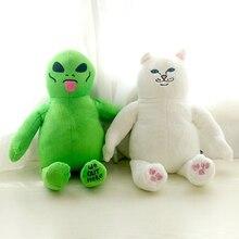1 pçs 45 cm cartoon dedo médio gato e alienígena brinquedo de pelúcia boneca crianças acompanhando dormir brinquedos presentes do feriado das crianças kawaii