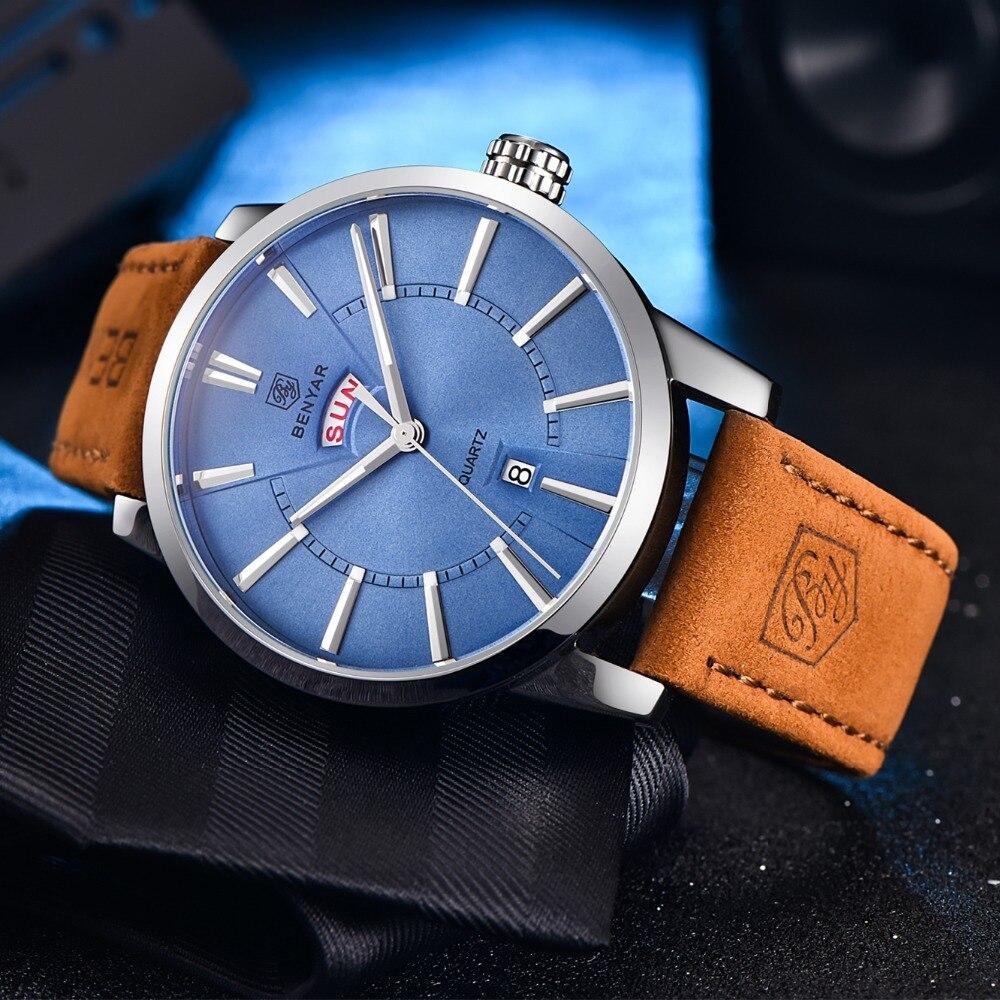 BENYAR luxury brand watches men Leather Quartz Calendar Fashion Men's Watch 30 M Waterproof Sport wristwatch Relogio Masculino