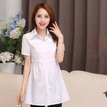 купить blusas femininas 2015 Women Cotton blouse Fashion Short sleeve lady blusasde renda Plus Size Blouse Shirt xxxl 4xl 5xl дешево