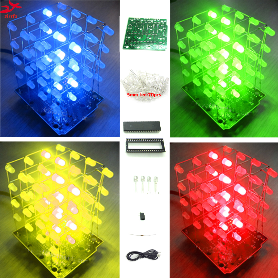 2017 New LED DIY KIT 3d Light Cubeeds Electronic DIY Kit 4X4X4