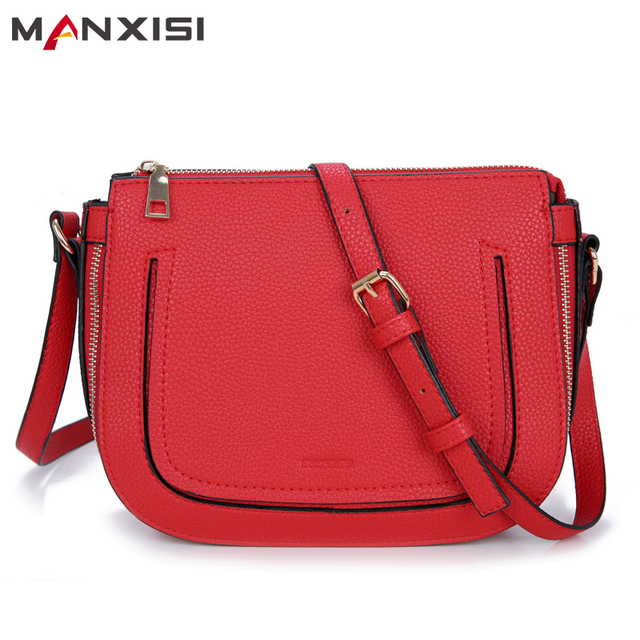 MANXISI Brand Women Crossbody Bag Small With Zipper Soft Leather Messenger bag Solid Saddle Female Single Shoulder Bag Red