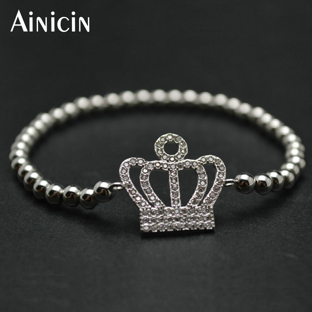 10pc High Quality Silver Plated Copper 4mm Round Beads Zircon Cubic Stone Beads Setting Crown Charms Strand Women Bracelets
