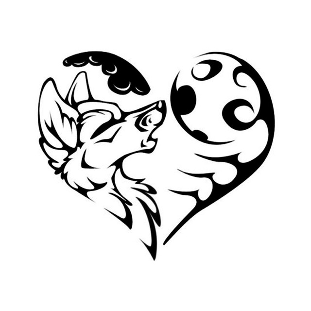 15 213 5cm Tribal Wolf Heart Funny Vinyl Car Stickers Car Styling