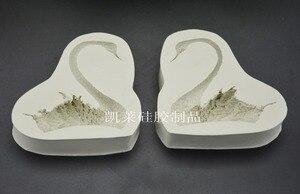 Image 2 - 3D Cặp Thiên Nga silicone làm Khuôn Kẹo Mềm Sô Cô La Bánh Trang Trí công cụ Thủ công Silica dạng Xà Phòng